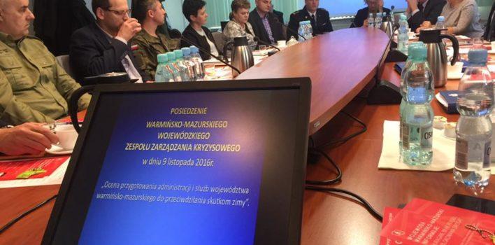 Posiedzenie Warmińsko – Mazurskiego Wojewódzkiego Zespołu Zarządzania Kryzysowego – 9.11.2016r.