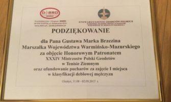 XXXIV Mistrzostwa Polski Geodetów wTenisie.